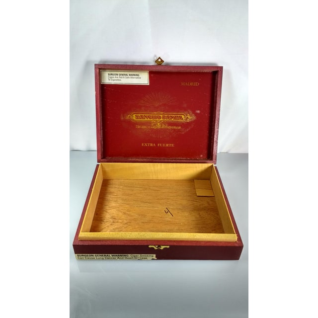 Red & Gold Sancho Panza Wood Cigar Boxes - Pair For Sale - Image 9 of 11