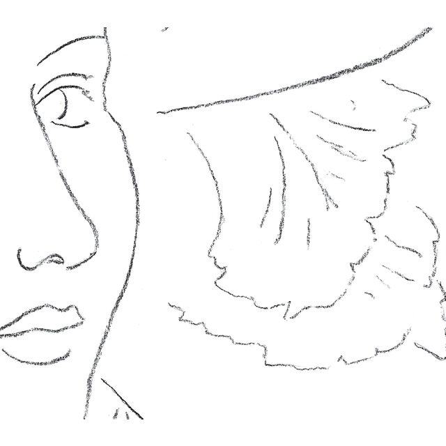 """Sarah Myers Sarah Myers """"Woman in a Flared Hat"""" Modern Line Drawing For Sale - Image 4 of 7"""