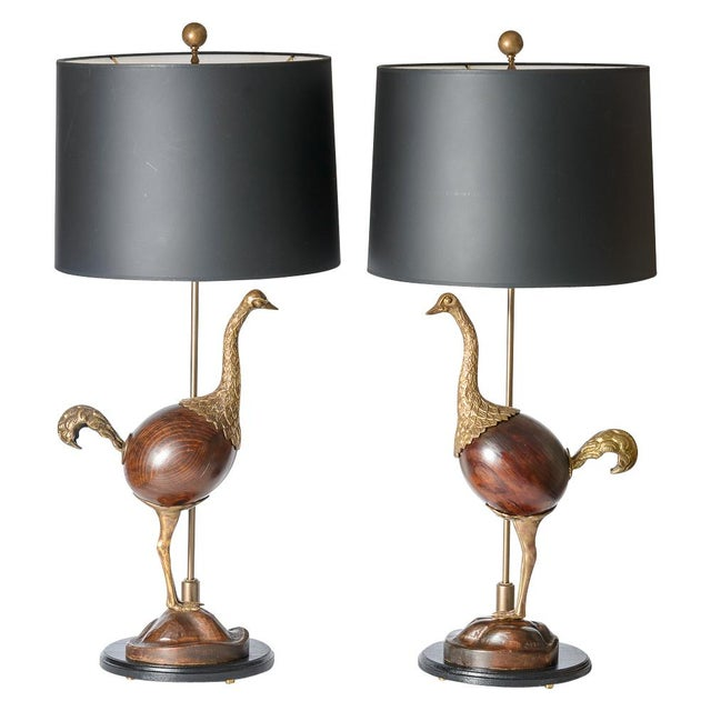 Hollywood Regency Rare Bronze & Wood Ostrich Table Lamps, A-Pair For Sale - Image 13 of 13
