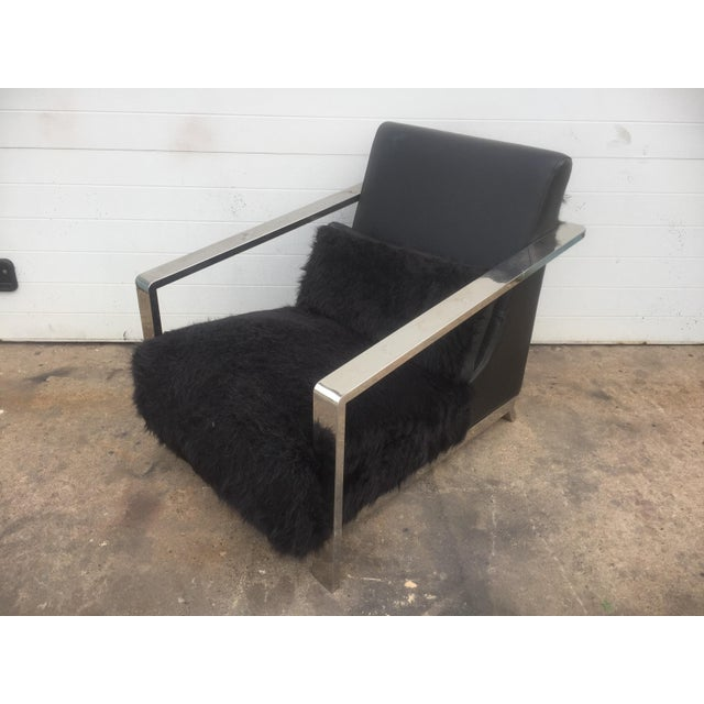 Modern Faux Fur Leather & Chrome Lounge Chair For Sale - Image 3 of 8