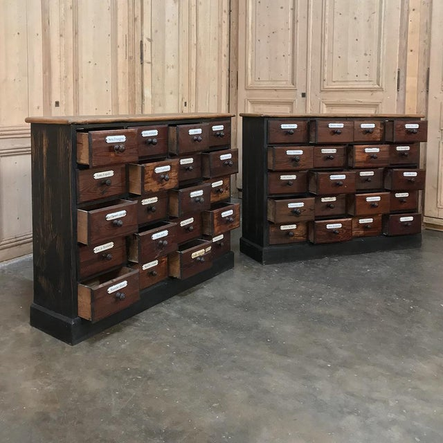 Antique French Pharmacy Cabinets With Original Enamelled Labels - a Pair For Sale In Dallas - Image 6 of 12