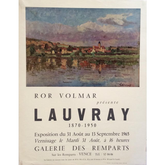 Original vintage art exhibition poster depicting a painting by French impressionist artist LAUVRAY. The landscape drawing...