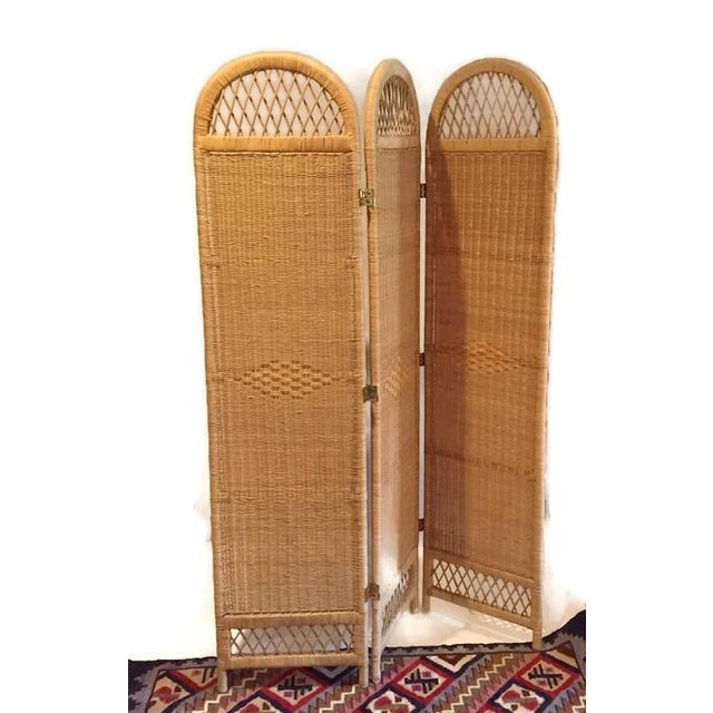 Vintage Wicker Rattan Folding Screen Room Divider - Image 2 of 7