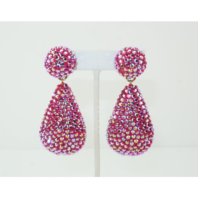 1980's Richard Kerr Hot Pink Pave Crystal Teardrop Earrings For Sale - Image 11 of 11
