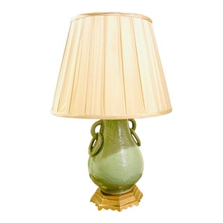 Chinoiserie Celadon Vase Lamp With Pierced Brass Base For Sale
