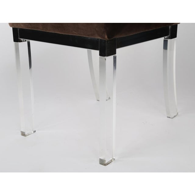1970S vintage CHROME AND LUCITE DINING CHAIRS- set of 4 For Sale In New York - Image 6 of 7