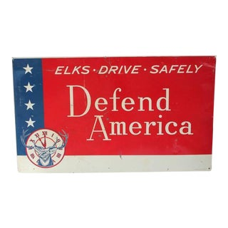 "Vintage Sign, ""Defend America"""
