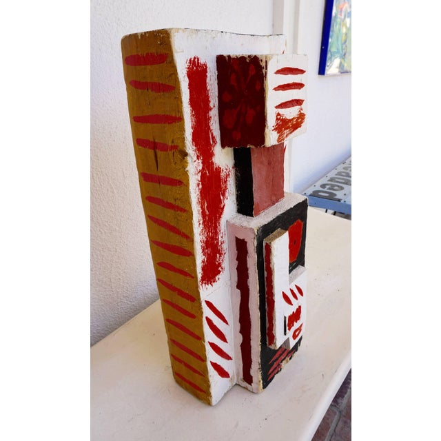 Red Abstract Painted Wood Sculpture by John Haley For Sale - Image 8 of 8