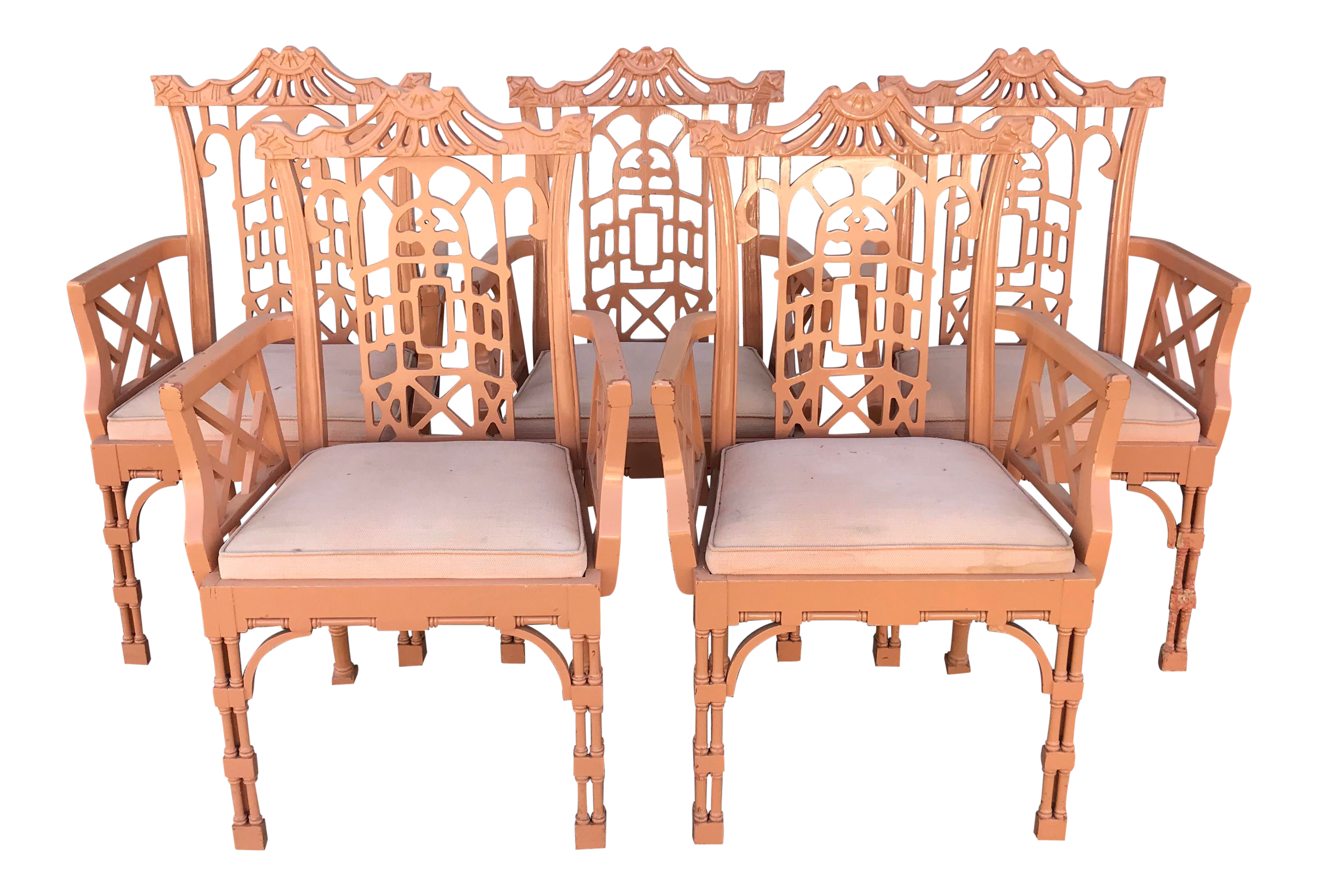 Vintage Fretwork Chinese Chippendale Dining Chairs Set Of 5 Chairish