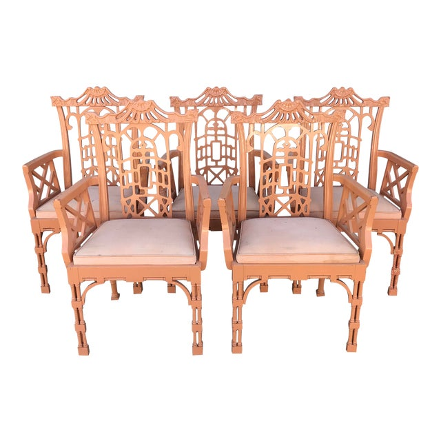 Vintage Fretwork Chinese Chippendale Dining Chairs - Set of 5 For Sale