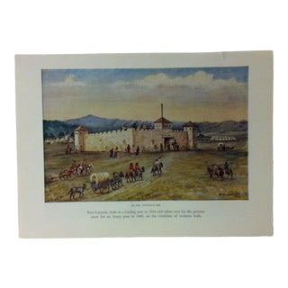 "Americana Color Print on Paper, ""Fort Laramie"" by w.h. Jackson, Circa 1940 For Sale"