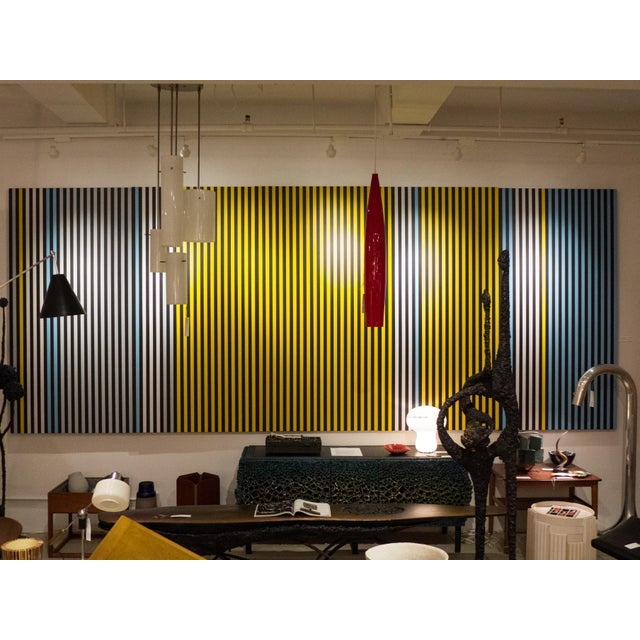 Large-scale, technically precise geometric stripe painting in blue, white, grey and yellow, on five separate panels, by...