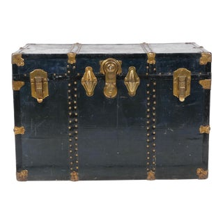 Navy Leather Steamer Trunk by Excelsior, Usa For Sale