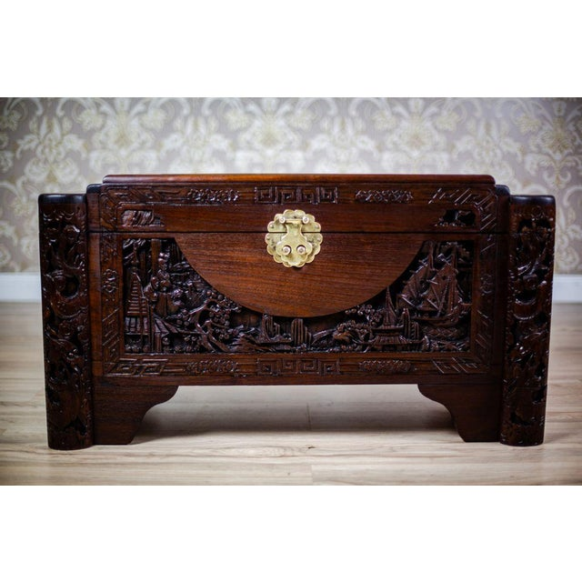 Wood Chinese Carved Chest from the 1930s For Sale - Image 7 of 10