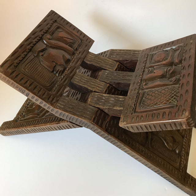 Boho Chic Antique Hand Carved Wooden Folding Stool For Sale - Image 3 of 9