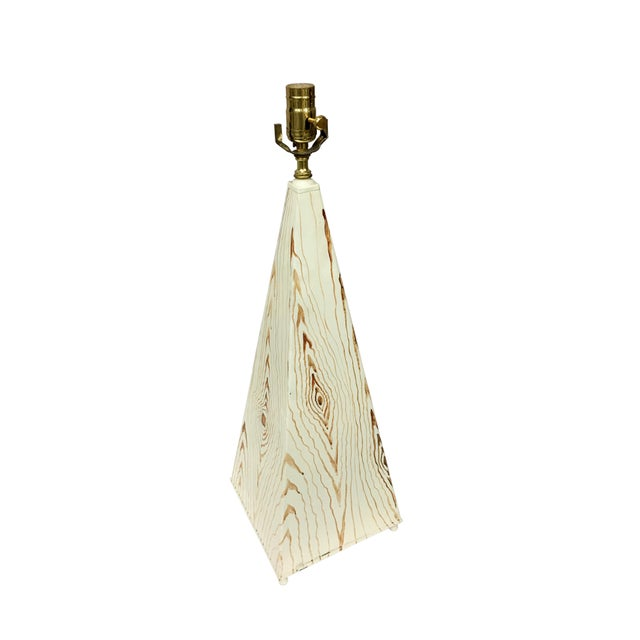 Obelisk shaped tole lamp with faux wood design, Harmony and Happiness, can be put in a bedroom or living room.