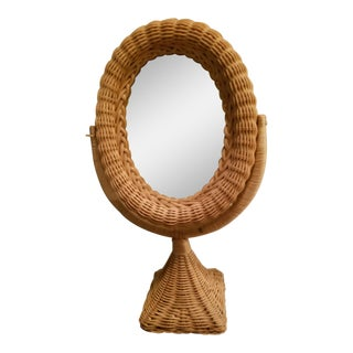 Natural Wicker Vintage Tilting Vanity Mirror For Sale