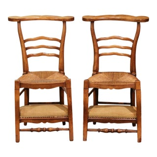 Pair of 19th Century Country French Walnut and Rush Convertible Prayer Chairs For Sale
