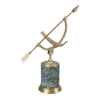 Vintage Brass & Marble Arrow Sun Dial Armillary Sculpture For Sale