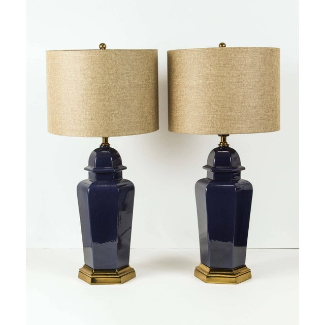 Gold Pair of Modern Cobalt Blue Chinese Ginger Jars Table Lamps For Sale - Image 8 of 8
