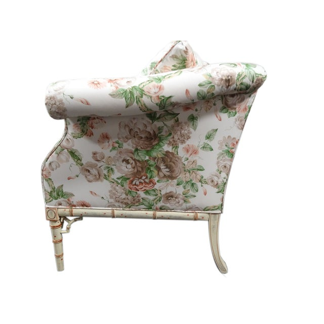 Hickory Chair Co. Floral Camel Back Bamboo Sofa - Image 4 of 11