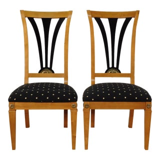 Thomasville Classics Empire Biedermeier Ebony & Maple Side Chairs - a Pair For Sale