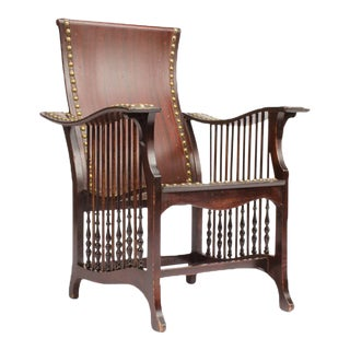 Late 19th Century American Mahogany and Brass Library Armchair For Sale