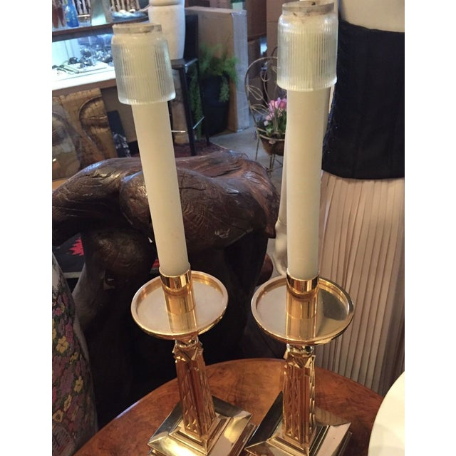 Gold Plate Bronze Candlesticks Nouveau Goth-A Pair - Image 7 of 9