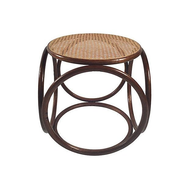 Mid-Century Modern 1960s Bentwood Rattan Footstool For Sale - Image 3 of 7