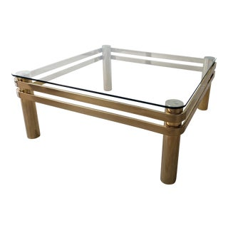 Late 20th Century Vintage Curved Brass Coffee Table For Sale