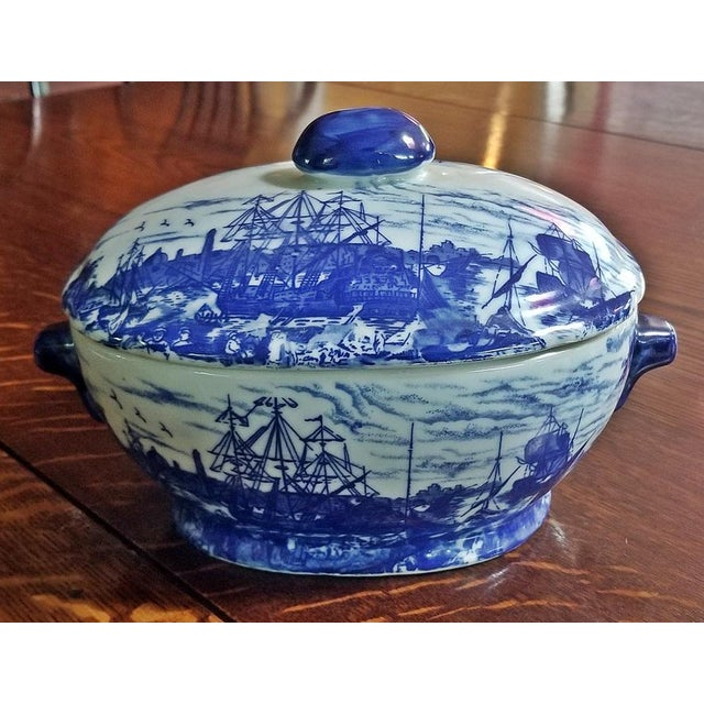 Ceramic Pair of 19c Staffordshire Ironstone Lidded Tureens of Shipping Scenes For Sale - Image 7 of 13