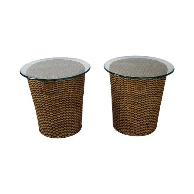 Woven Wicker Wrapped Cylinder End Tables - A Pair For Sale