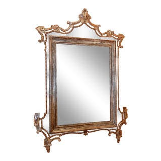 Directoire' Worn Silver Gilt Mirror For Sale