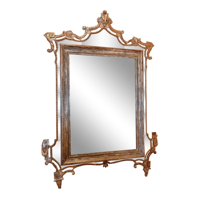 Directoire' Worn Silver Gilt Mirror For Sale