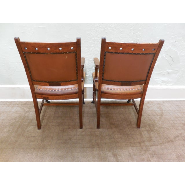 Antique Victorian Oak Dining Chairs - Set of 4 - Image 4 of 10