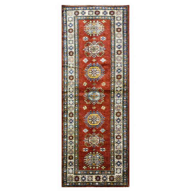 Afghan Kazak Wool Rug - 2'9'' X 8'7'' For Sale - Image 4 of 4