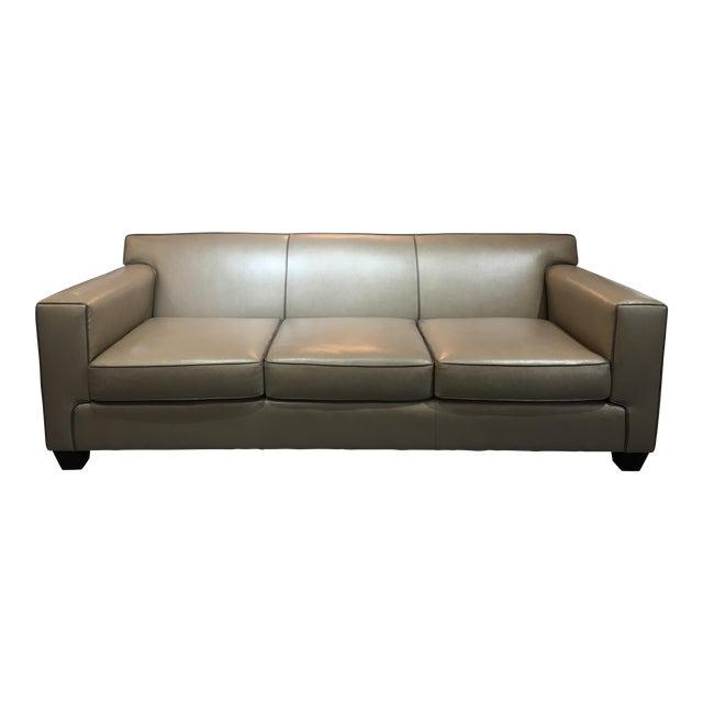 Modern LeatherCraft Custom Pearlized Italian Leather Sofa For Sale