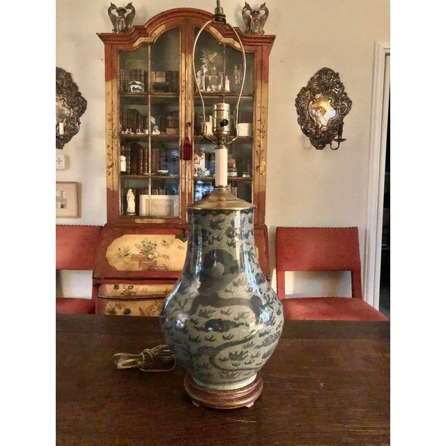 Antique Chinese Hu Form Blue & White Smooth Glaze Ko Ware Vase Lamp For Sale - Image 12 of 12