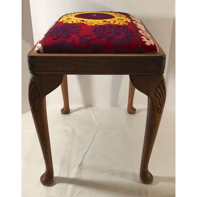 Early 20th Century 20th Century Persian Uzbek Suzani Stool Bench For Sale - Image 5 of 9