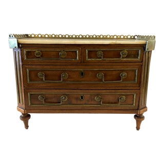 Louis XVI Mahogany and Brass Mounted Miniature Chest For Sale