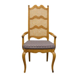 Thomasville Furniture Chateau Collection Cane Back Dining Arm Chair For Sale