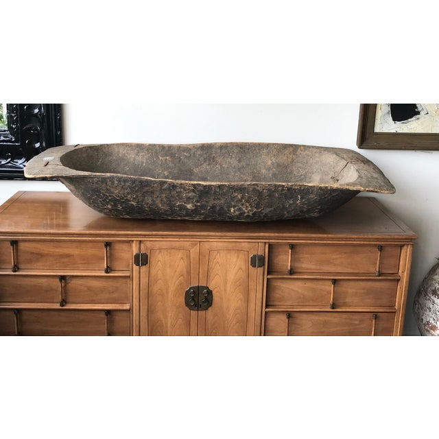 Antique Turkish Boho Rustic Dough Bowl For Sale In Los Angeles - Image 6 of 7