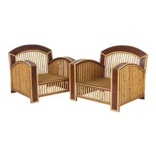 Art Deco Rattan Club Chairs - A Pair For Sale