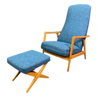 Vintage Mid Century Danish Modern Folke Ohlsson for Dux Recliner Lounge Chair & Ottoman For Sale