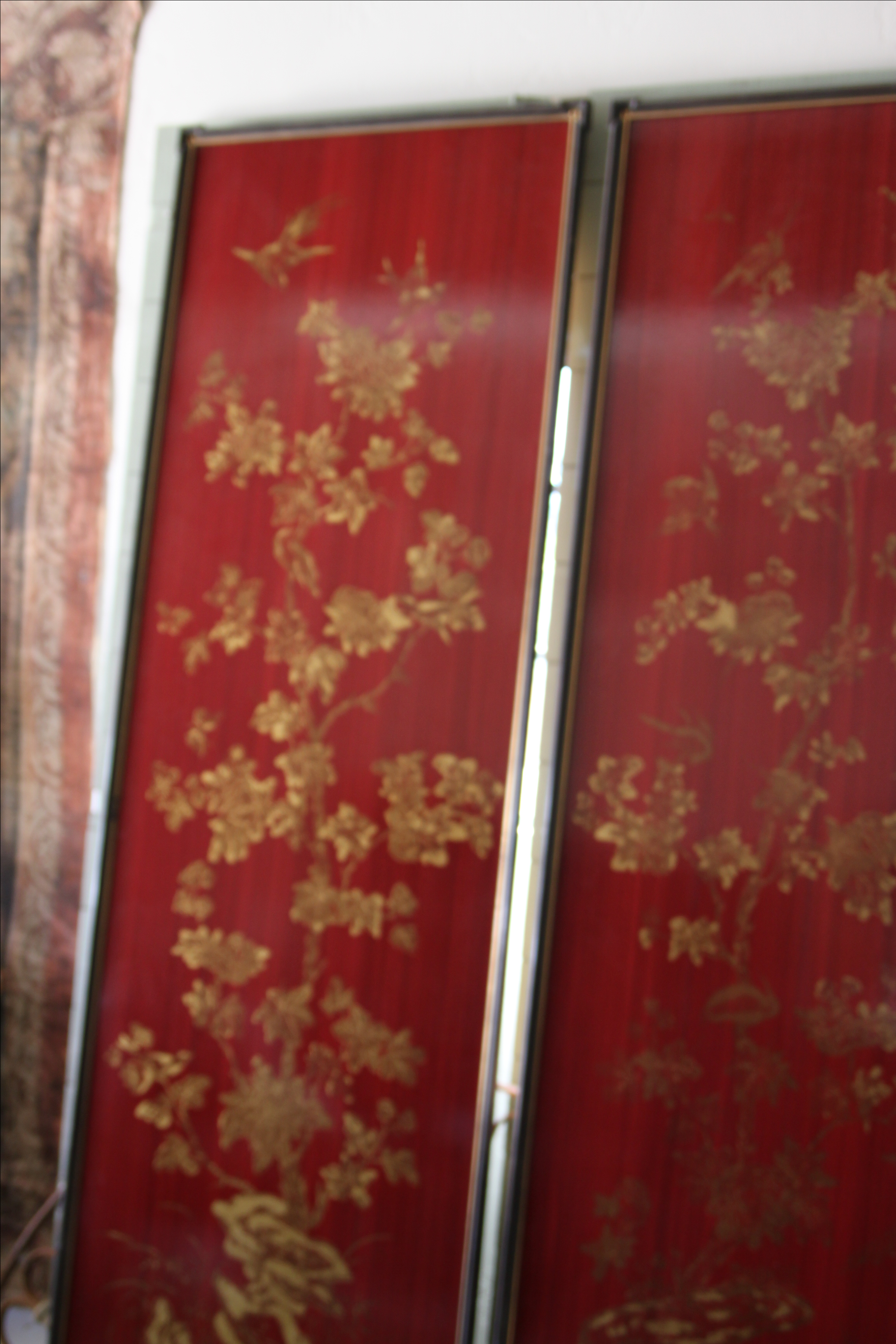 Large chinoiserie framed wallpaper panels a pair image 7 of 10