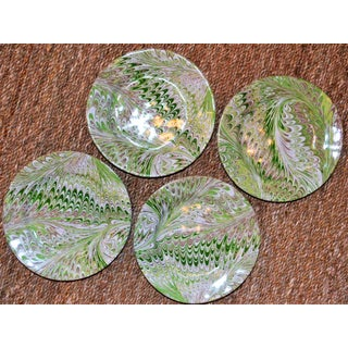 Modern Green Firenze Marbleized Ceramic Cocktail Plates - Set of 4 Preview