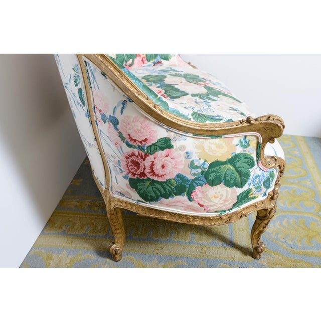 Lovely, 19th century French, upholstered settee. Rococo revival gilt wood canopy. Second half of the 19th century. Price...