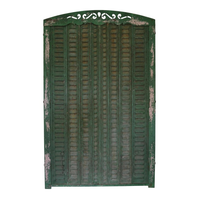 Antique Iron Tall Arched French Window Shutter For Sale
