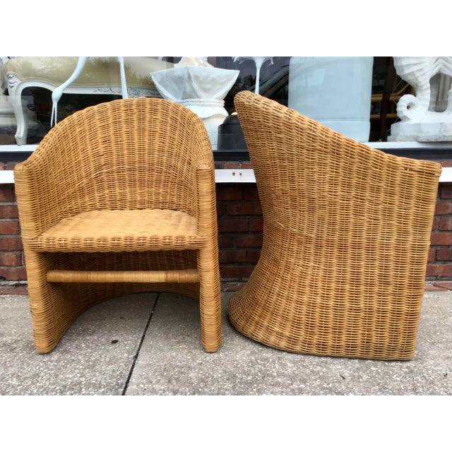 Moderne Rattan Barrel Chairs - a Pair For Sale - Image 9 of 11
