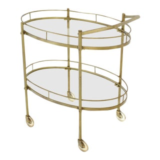 Mid-Century Modern Oval Brass and Glass Two Tier Tea Cart For Sale